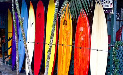 variety of different styles and size surfboards