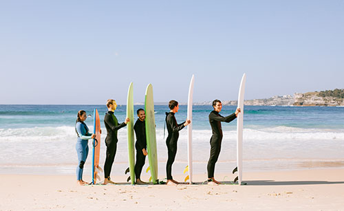 variety of surfboard sizes