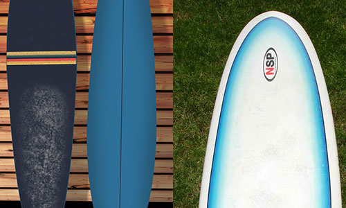 longboard and a shortboard surfboard