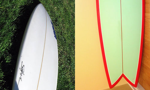 shortboard and a fish board surfboard