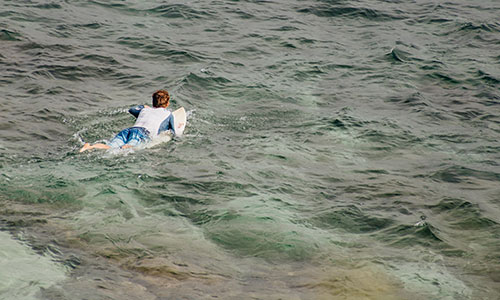 surfer paddling out in the clear waters of Maui, Hawaii.